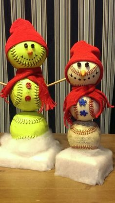 Softball and baseball snowmen!