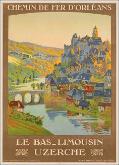 Vintage Railway Travel Poster - Le Bas-Limousin - Uzerche - Département de la Corrèze - Région Limousin