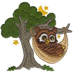 Dakota Collectibles Embroidery Design Owl In A Hammock 345 Inches H X 352 W