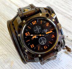 Leather Watch Cuff Men's watch Leather by CuckooNestArtStudio