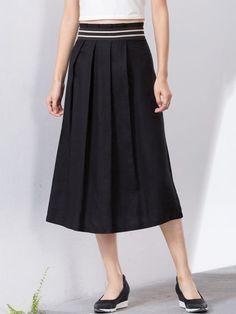 Plain Folds Midi Skirt