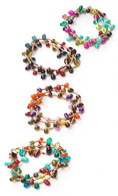 Multi strand elasticated bracelet with lentil beads