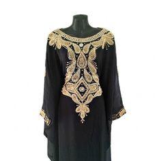 Black Caftan Farasha Gold Beaded Crystal Kaftan Dress by Jywal