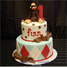 katy this would be fun for Tyson!!  Sock Monkey Cake  check out jennifer michels pins... she pinned a ton of monkey party things