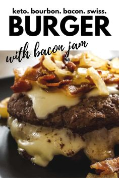 Keto Bourbon Bacon Swiss Burger An easy weeknight keto meal. You cannot go wrong with bourbon, beef and bacon. The bunless low-carb burger just got an upgrade. Low Carb Burger, Keto Burger, Low Carb Keto, Bunless Burger, Low Sugar Recipes, No Carb Recipes, Burger Recipes, Sugar Foods, Snacks Recipes