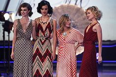 'Fashion Star' designer, Nikki Poulos, with her Black-and-Red Print Vintage-Inspired Maxi dresses from week 5.