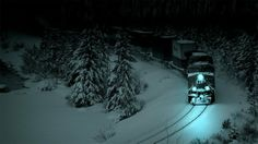 Train in the snow.