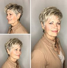 Feathered Blonde Pixie For Older Women