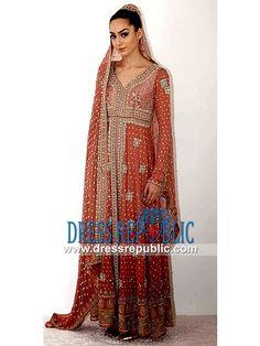 Dark Apricot Ankle-length Long Shirt Dress Karma Bridal Collection 2014
