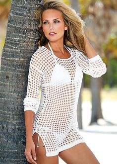 Fashion Sexy Knitted Beach Dress Women Solid Crochet Swimsuit Cover up 2016 Summer Beach Wear Bikini Cover-Ups Ladies Hollow Out