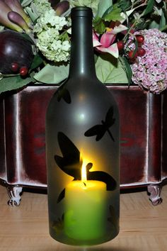 Frosted Dragonfly Wine Bottle Hurricane Candle Lamp by TipsyGLOWs, $20.00
