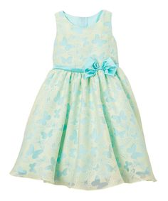 Take a look at this Yellow & Aqua Butterfly Organza Two-Tone Dress - Toddler & Girls today!