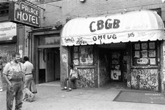 Hilly Kristal (far left) in front of his club, CBGB, in 1987. RIP Hilly - Thanks for all you did for us.