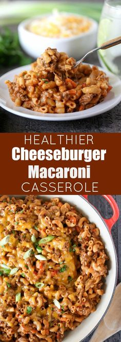 Cheeseburger Macaroni Casserole - Healthy comfort food, made in one pot in 30 minutes!Healthier Cheeseburger Macaroni Casserole - Healthy comfort food, made in one pot in 30 minutes! Healthy Potato Recipes, Healthy Casserole Recipes, Potatoe Casserole Recipes, Pasta Recipes, Beef Recipes, Dinner Recipes, Cooking Recipes, Dinner Ideas, Healthy Hamburger Recipes