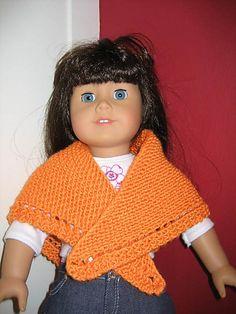 American Girl Doll Triangular Shawl with Eyelet pattern by Jennifer Jackson