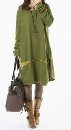 Green sweaters plus size knit dresses