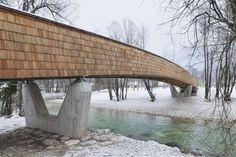 DANS arhitekti, Miran Kambic · Bicycle bridge across Sava River in Bohinjska Bistrica. Slovenia · Divisare