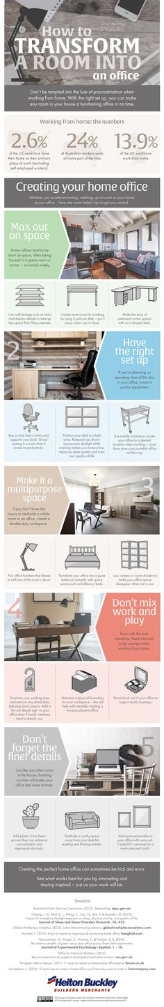 How to Transform a Room into an Office #infographic #Office #Home #HowTo