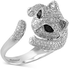 Effy Diamond Cat Ring (1-5/8 ct. t.w.) in 14k White Gold ($4,200) ❤ liked on Polyvore featuring jewelry, rings, cat, white gold, round ring, diamond jewelry, white gold rings, white gold jewellery and 14 karat gold ring
