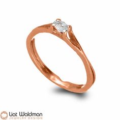 Delicate Rose Gold Engagement Ring , 14k Rose Gold Solitaire Engagement Ring , Rose Gold and Diamond Ring , Stacking Engagement Ring #rosegoldring www.liatwaldman.com