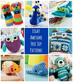 8 Awesome FREE Crochet Toy Patterns. Fun and easy crochet and crafts tutorial and idea for a diy gift.