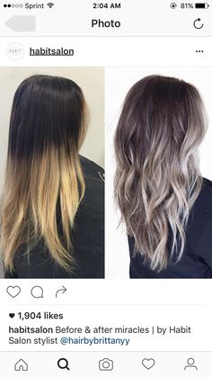 Fashionable Balayage Hair Color Ideas For Brunettes - Beauty Tips Cabelo Ombre Hair, Grey Ombre Hair, Brown To Grey Ombre, Balayage Hair Brunette Medium, Ashy Blonde Hair, Dark Ombre, Silver Ombre, Blue Hair, Hair Color Balayage