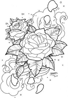 Floating Roses by AsBlackAsCoal on DeviantArt - Rose Coloring Pages, Skull Coloring Pages, Detailed Coloring Pages, Printable Adult Coloring Pages, Mandala Coloring Pages, Coloring Pages To Print, Coloring Books, Coloring Sheets, Coloring Pages Nature