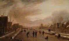 Aert van der Neer - Winterlandschap met schaatsers en kolfers