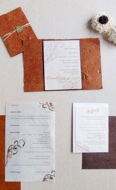 Rustic Old World Wedding Invitation, Lokta Paper, Gold Wax Seal, Swirl Motif by Emily Edson Design
