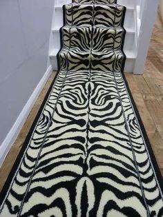 x Zebra Black Animal Print Long Hallway Stair Carpet Runner Rug Carpet Runner, Rug Runner, White Elegance, Closet Layout, Long Hallway, Black Animals, Carpet Stairs, Aesthetic Vintage, Bars For Home