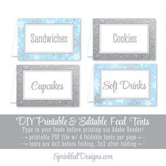 Winter Onederland Party Decorations - Baby Blue Gray Silver Glitter Party Food Tents, Folding Editable Text Buffet Labels, Table Place Cards