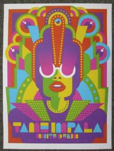 Turn this isnto a retro Doc Who Cyberman on acid poster! (Dre) Tame Impala w/ White Denim - silkscreen concert poster (click image for more detail) Artist: Dan Stiles Venue: Boulder Theater Location: Boulder, CO Concert Date: Size: x Edition: 1 Rock Posters, Band Posters, Festival Posters, Concert Posters, Gig Poster, Print Poster, Film Festival, Movie Posters, Narnia