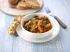 Butternut Squash Stew with Curly Kale recipe - The Vegetarian Society Cookery School Kale Recipes, Vegetarian Recipes, Butternut Squash Stew, Vegan Dinners, Healthy Dinners, Chana Masala, Curry, Dishes, Eat