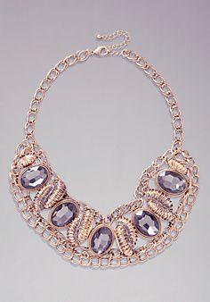 Glitzy Chain Bib Necklace #bebe