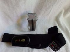 POLAR GREY HEART RATE WATCH-FT4-W/CHEST STRAP-BATTERY CR-1632-NEEDS BATTERY…