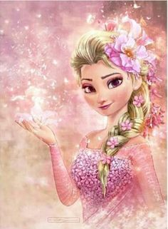 Elsa and pink flowers