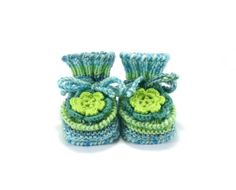 Knitted Baby Booties with Crochet Flower  Green by SasasHandcrafts, $19.00
