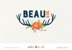 Creative Logo Design Floral Deer Logo Rustic Logo Woodland Logo Design - atelier abeille by Madame Levasseur American website designer and logo designer in Paris