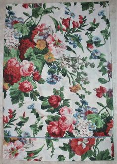 """RAYMOND WAITES GRAY WHITE FLORAL FULL FITTED SHEET 14/"""" POCKETS"""