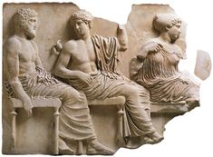 ~ Poseidon, Apollo and Artemis in the meeting of gods; Bas-relief from the east frieze of Parthenon. Medium: Marble Provenance: Athens, New Acropolis Museum (Αθήνα, Νέο Μουσείο. Ancient Greek Sculpture, Ancient Greek Art, Ancient Romans, Ancient Greece, Roman Sculpture, Sculpture Art, Sculptures, Classical Athens, Elgin Marbles