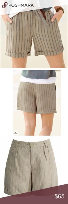 "NWOT Peruvian Connection Prescott Striped Shorts The slouchy, menswear-striped linen shorts, with front pleats, pockets and rollable hem. | Front Button Zipper | 100% Linen | Machine Wash | Made in India7"" Inseam (Unrolled) Peruvian Connection Shorts Bermudas"