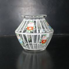Vintage hand painted glass vase by Hallingtons on Etsy, $