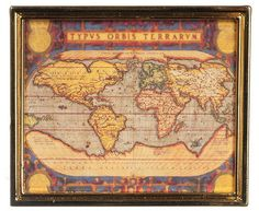 """Dollhouse Miniature Ancient Map Gold Metal Frame 2⅞""""W x 2""""T  1:12 Scale"""