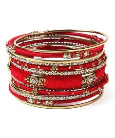 Another great find on #zulily! Austrian Crystal & Red Ankara Bangle Set #zulilyfinds