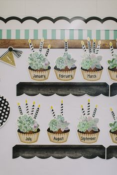 Birthday banner details from a classroom makeover designed by Schoolgirl Style.  The Simply Stylish collection was designed to connect a garden world to your classroom.  Created with a calm background of whites, blacks and greens, natural elements are the focus in this space.  This collection welcomes a classy and warm environment into the classroom, while the pops of succulents will be sure to spark children's imagination.  Celebrate learning with a warm and inviting classroom space! Birthday Display In Classroom, Elementary Classroom Themes, Calm Classroom, Preschool Classroom Decor, Infant Classroom, Classroom Design, Kindergarten Classroom, Classroom Birthday Displays, Classroom Birthday Board