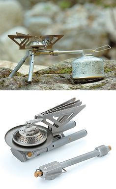 Snow Peak BiPod Stove - Designed for lightweight, backpacker portability Snow Peak's simple & powerful Bipod Stove features 2 sturdy fold-open stainless steel legs & a support arm that easily holds even larger, heavier cook pots. The Bipod stove uses canister fuel & also features an automatic igniter. $90