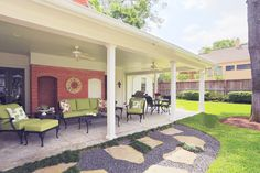 Covered patio with little slope to roof.