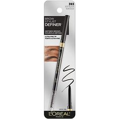 L'Oreal Paris Makeup Brow Definer Waterproof Eyebrow Pencil, Ultra-Fine Mechanical Pencil, Draws Tiny Brow Hairs & Fills in Sparse Areas & Gaps, Soft Black, Ounce (Pack of Smudge Proof Eyeliner, Lash Up, Waterproof Eyebrow, Brow Shaping, Perfect Eyes, Highlighter Makeup, Eyebrows