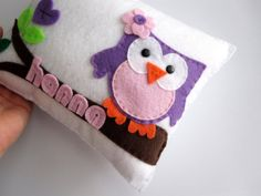 Personalized Owl pillow adorable personalized by Mariapalito, $25.00