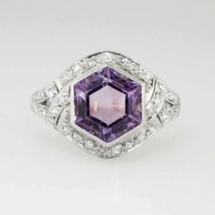 Rare 3.61ct t.w. 1930's Hexagon Amethyst & Old European Cut Diamond Filigree Ring Platinum | Antique & Estate Jewelry | Jewelry Finds